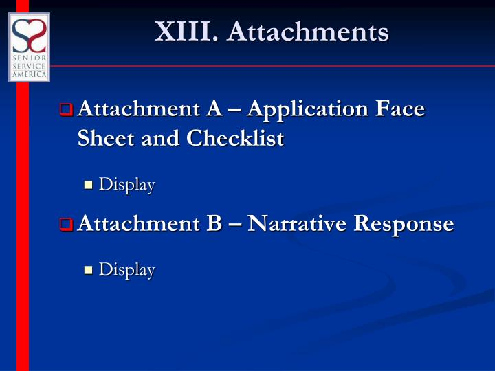 XIII. Attachments