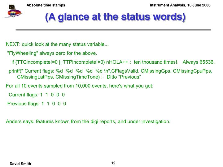 (A glance at the status words)