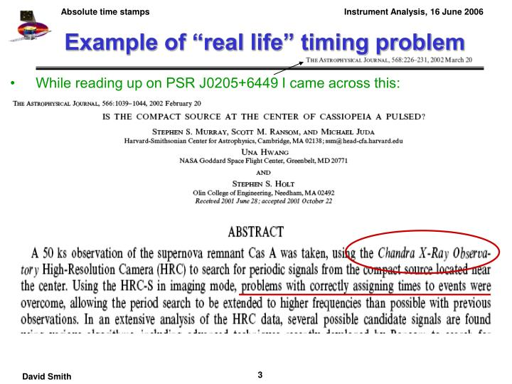 "Example of ""real life"" timing problem"
