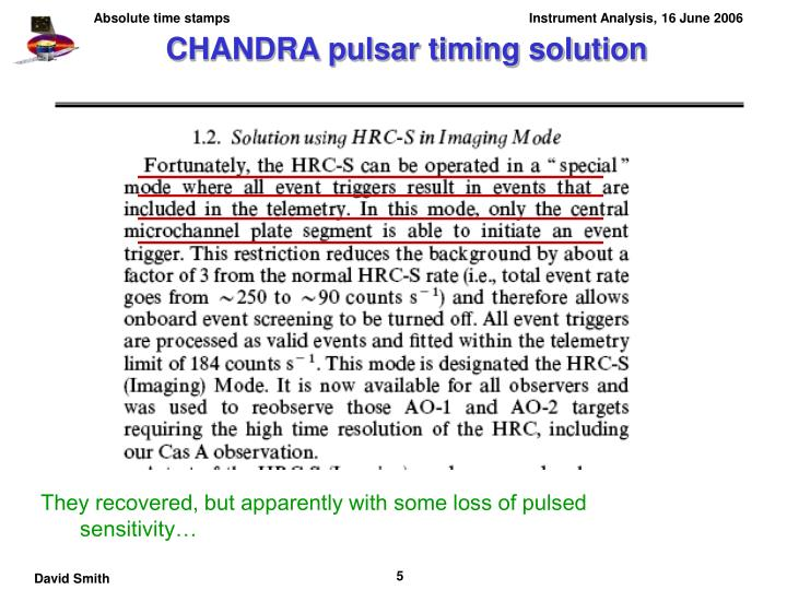 CHANDRA pulsar timing solution