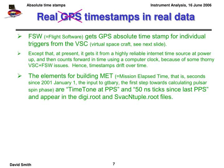 Real GPS timestamps in real data