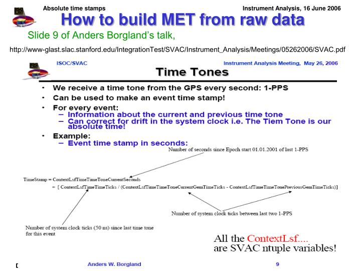 How to build MET from raw data