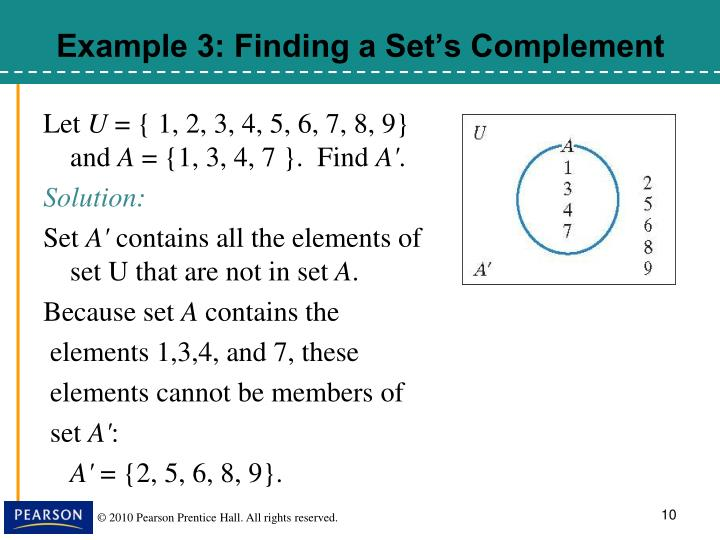 Example 3: Finding a Set's Complement
