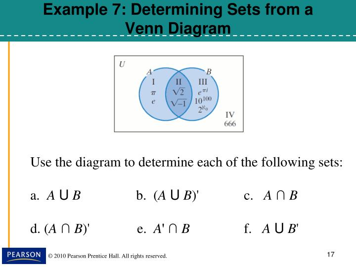 Example 7: Determining Sets from a Venn Diagram