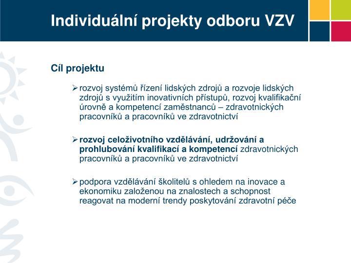 Individuální projekty odboru VZV