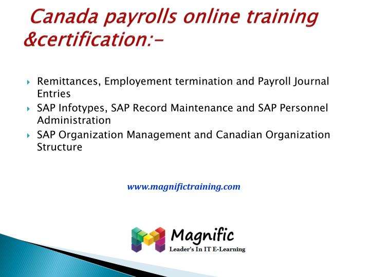 Canada payrolls online training &certification:-