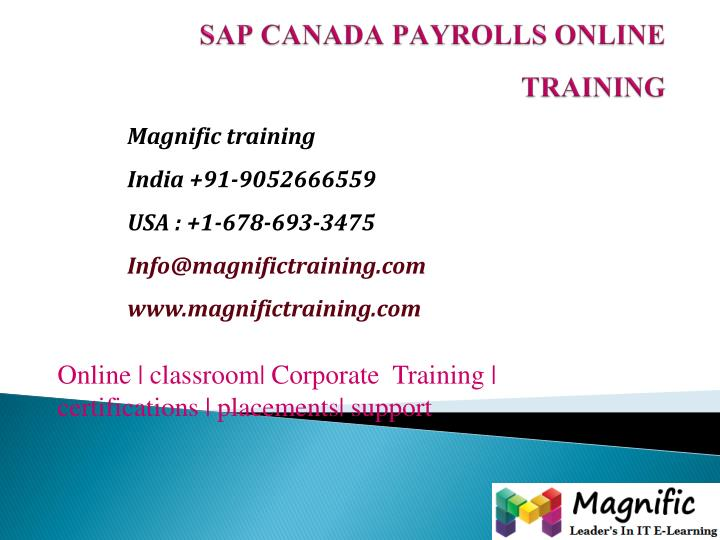 Sap canada payrolls online training