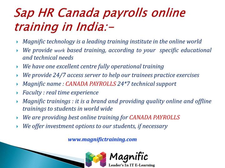 Sap hr canada payrolls online training in india