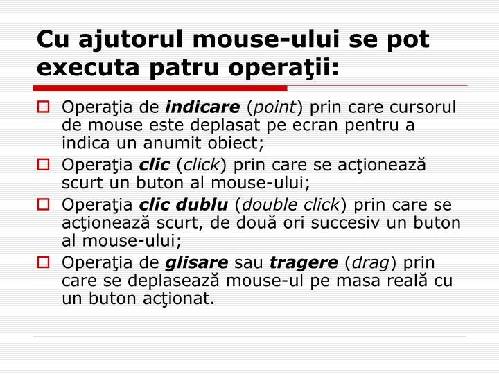 Cu ajutorul mouse-ului se pot executa patru operaţii:
