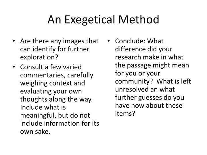 An Exegetical Method