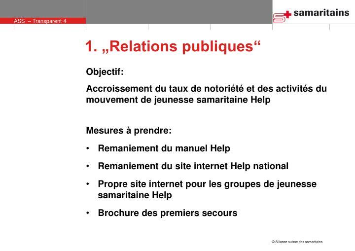 """1. """"Relations publiques"""""""