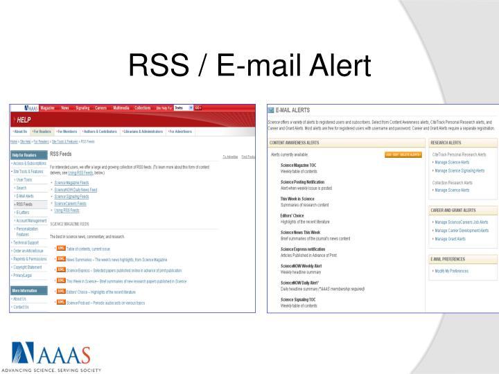 RSS / E-mail Alert