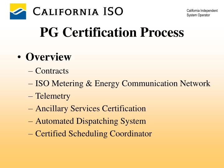 PG Certification Process