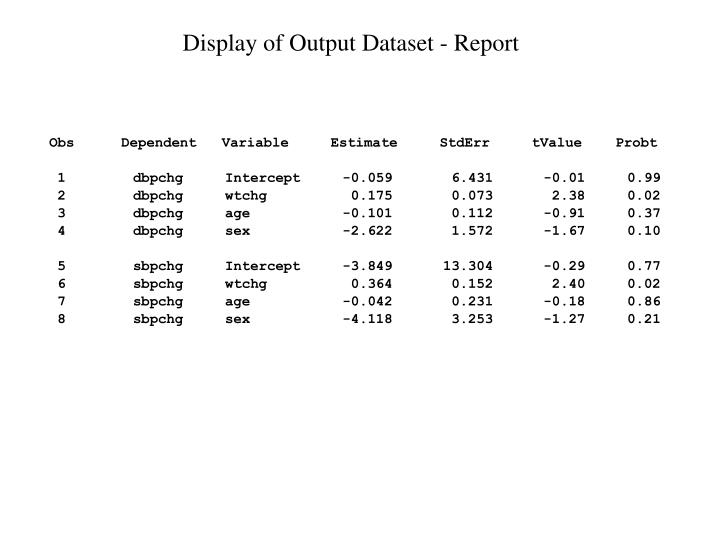 Display of Output Dataset - Report