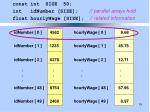 const int size 50 int idnumber size parallel arrays hold float hourlywage size related information