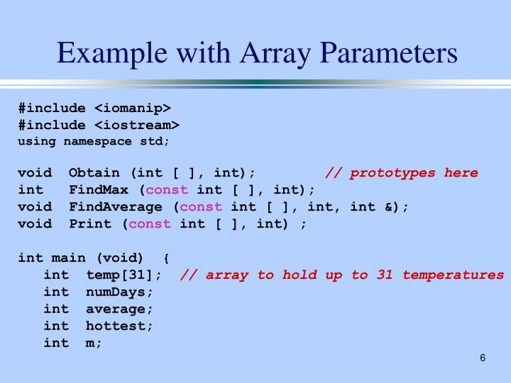 Example with Array Parameters
