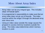 more about array index