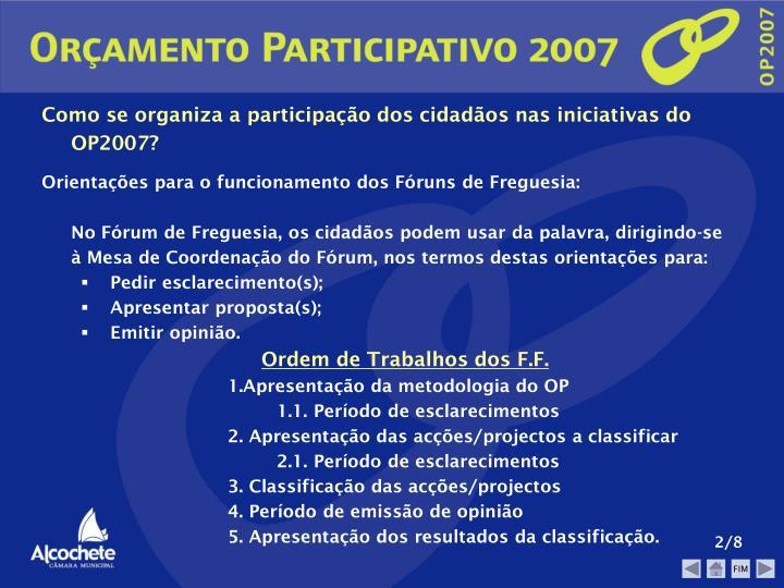 Como se organiza a participação dos cidadãos nas iniciativas do OP2007?