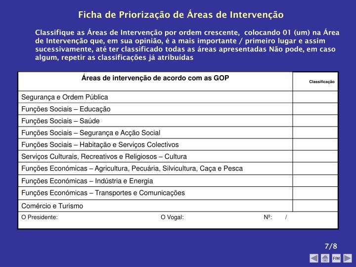 Ficha de Priorização de Áreas de Intervenção