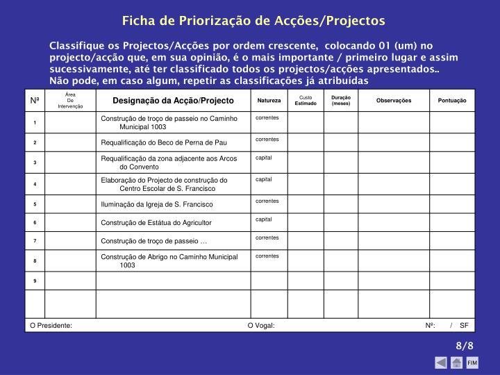 Ficha de Priorização de Acções/Projectos