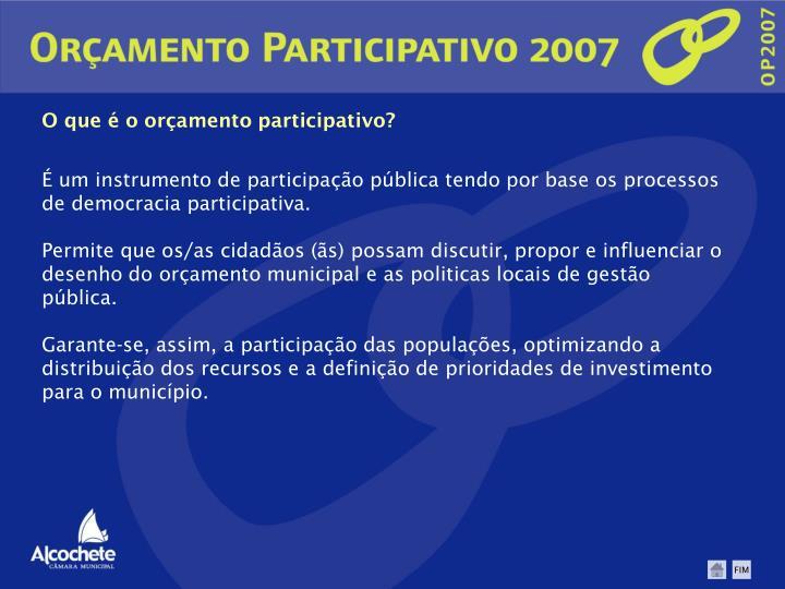 O que é o orçamento participativo?