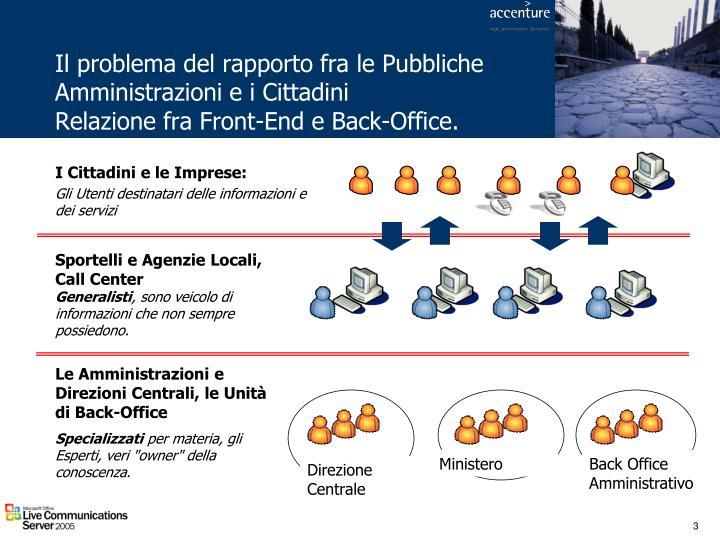 Il problema del rapporto fra le Pubbliche Amministrazioni e i Cittadini