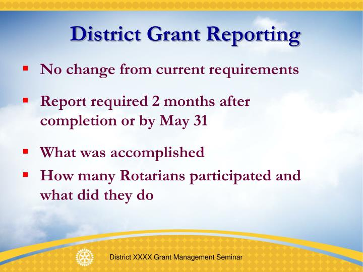 District Grant Reporting