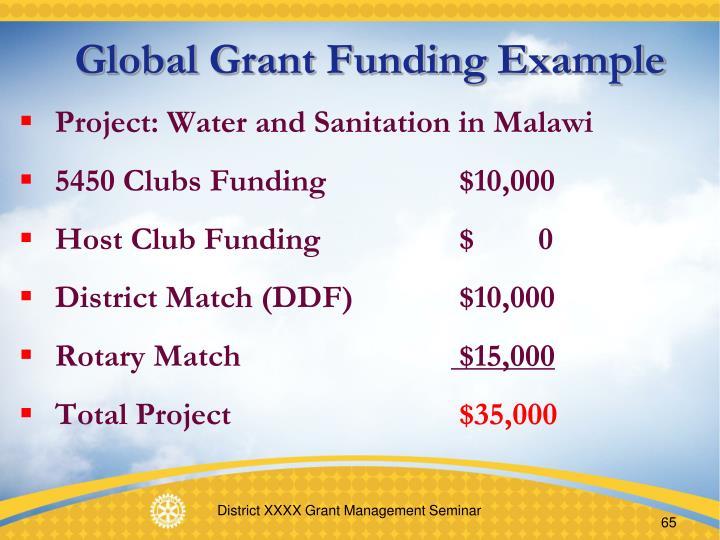 Global Grant Funding Example