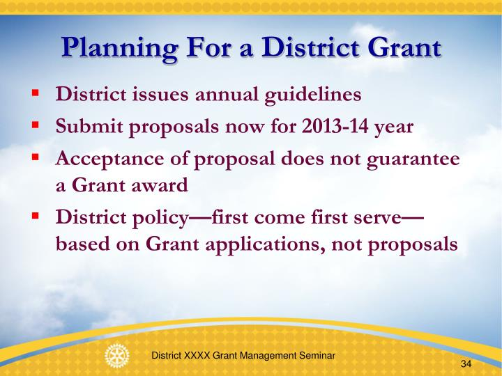 Planning For a District Grant