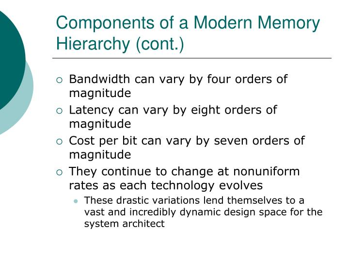 Components of a Modern Memory Hierarchy (cont.)