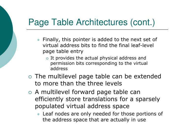Page Table Architectures (cont.)