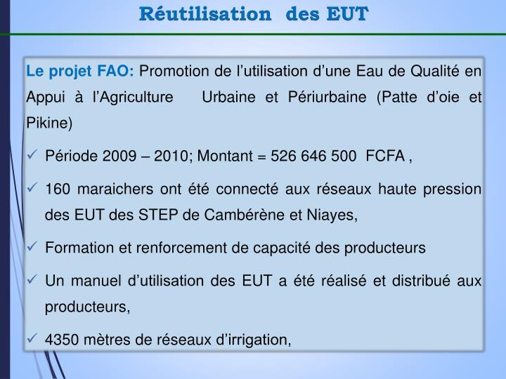 Réutilisation  des EUT