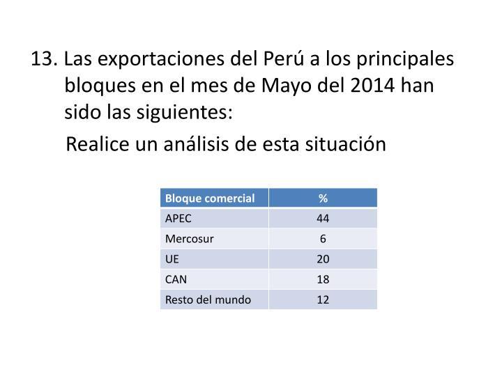 13. Las exportaciones del Perú a los principales bloques en el mes de Mayo del 2014 han sido las siguientes: