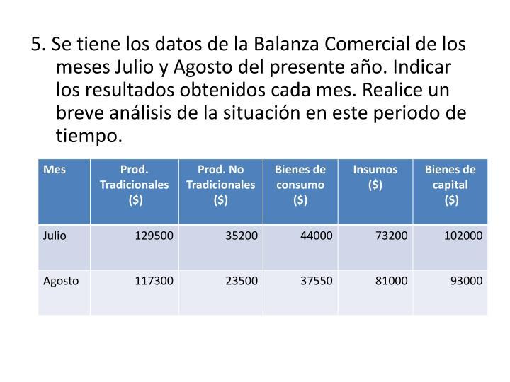 5. Se tiene los datos de la Balanza Comercial de los meses Julio y Agosto del presente año. Indicar los resultados obtenidos cada mes. Realice un breve análisis de la situación en este periodo de tiempo.