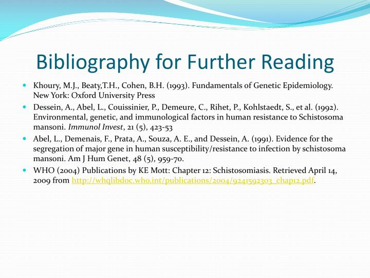 Bibliography for Further Reading