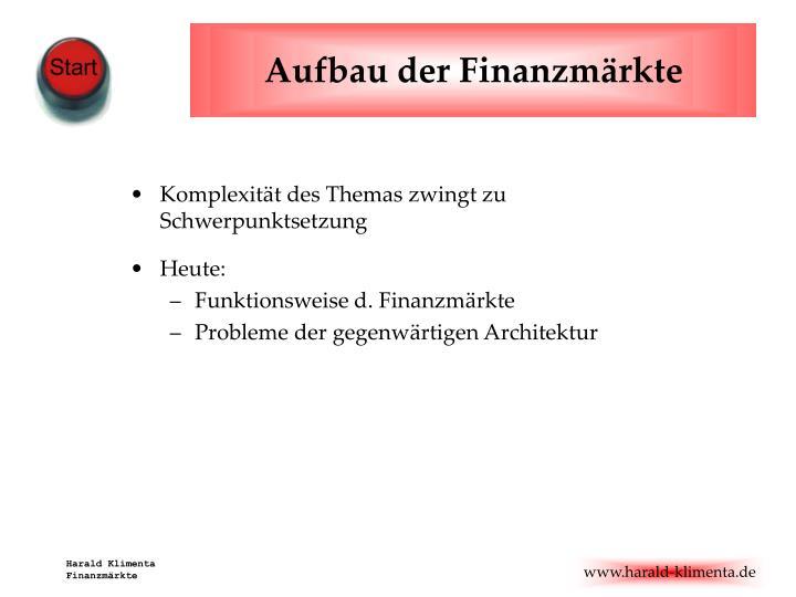 Aufbau der Finanzmärkte