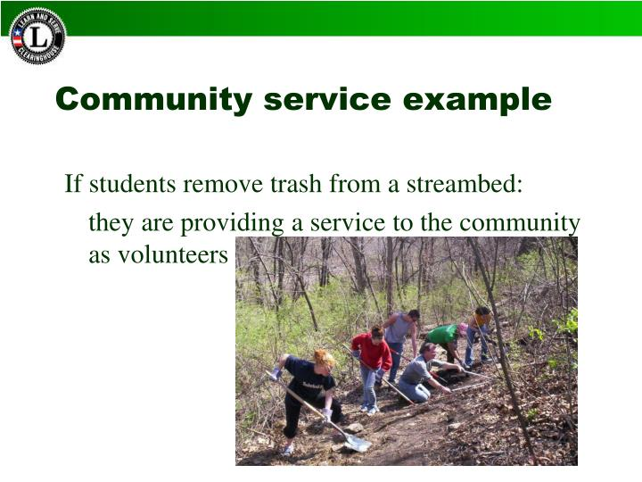 Community service example