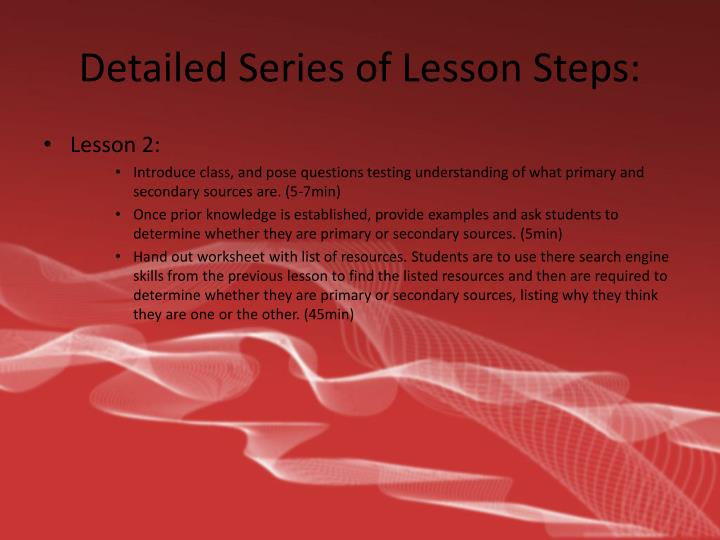Detailed Series of Lesson Steps: