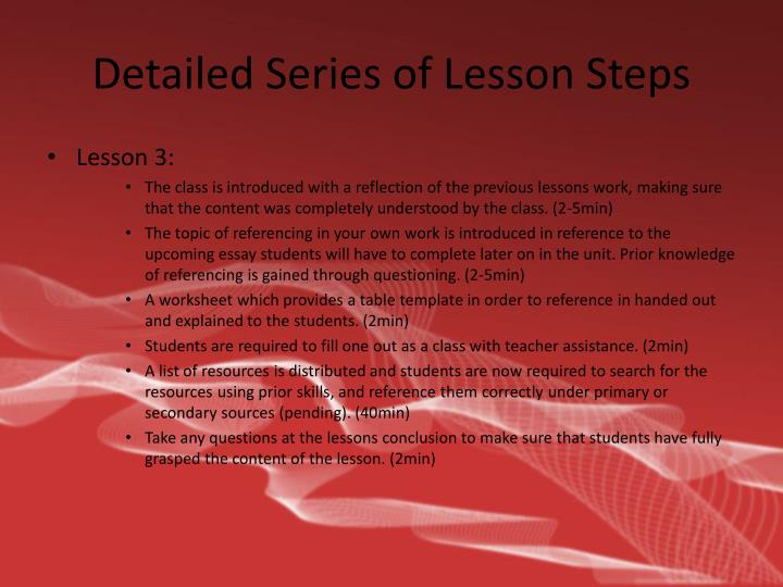 Detailed Series of Lesson Steps