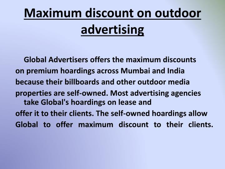 Maximum discount on outdoor advertising1