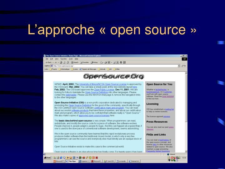 L'approche «open source»