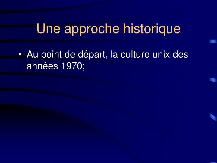 Une approche historique