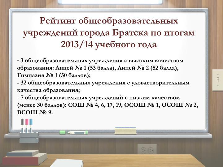 Рейтинг общеобразовательных учреждений города Братска по итогам 2013/14 учебного года