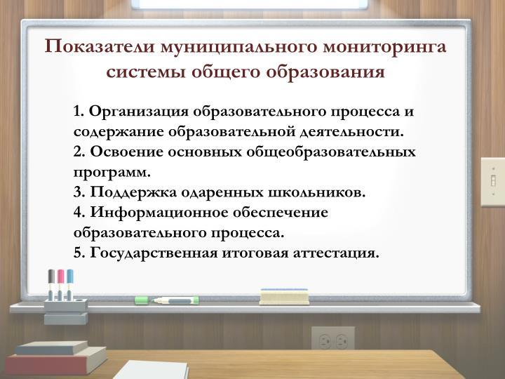 Показатели муниципального мониторинга системы общего образования