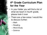 4 th grade curriculum plan for the year
