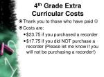 4 th grade extra curricular costs