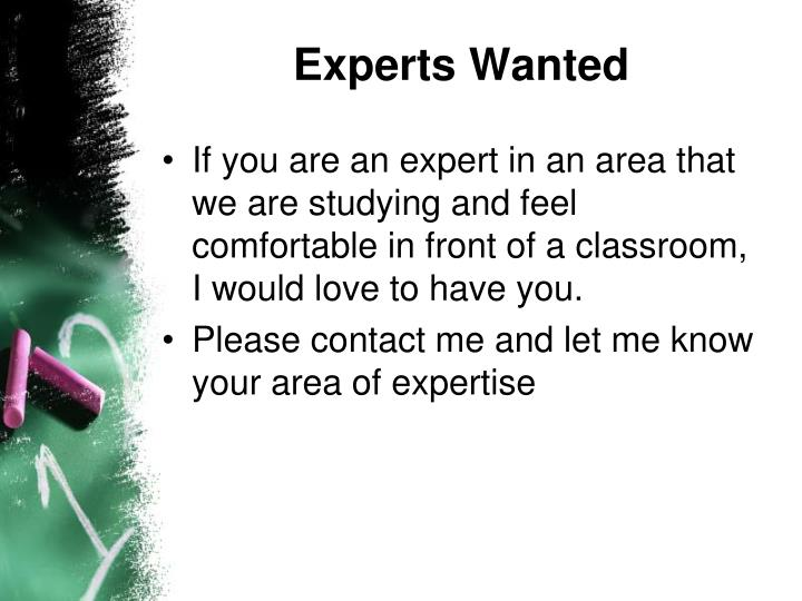Experts Wanted