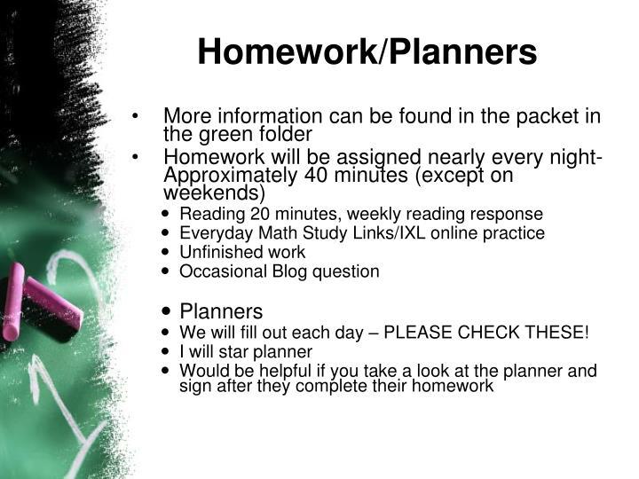 Homework/Planners