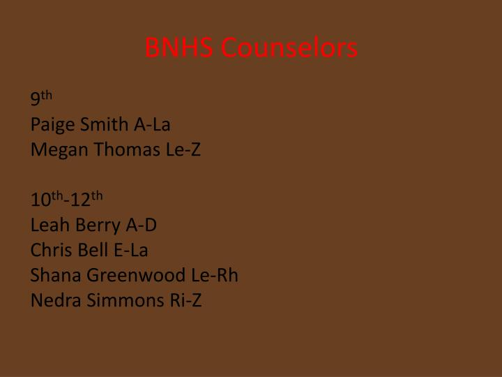 Bnhs counselors