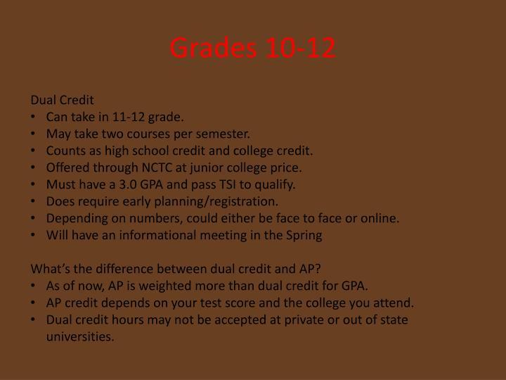 Grades 10-12